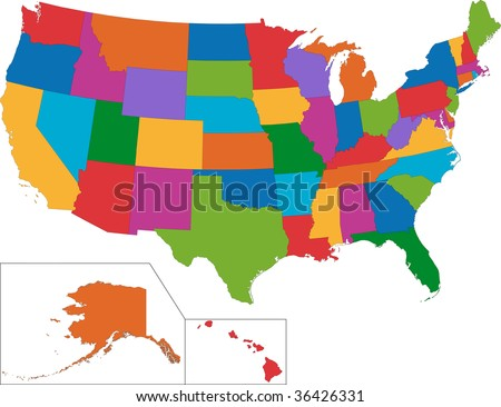 Map United States America Vector Set Stock Vector - Map for the united states
