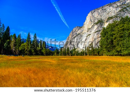 colorful valley in Yosemite National Park - stock photo