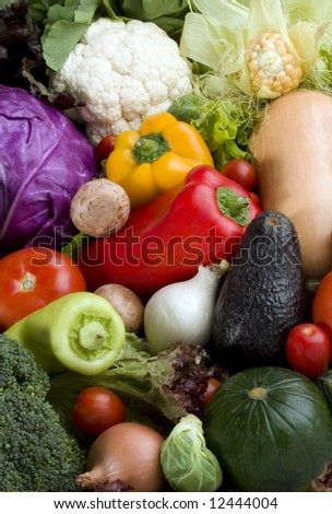 Colorful vegetables background close up. Focus is everywhere. - stock photo