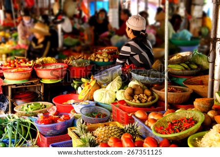 Colorful vegetables for sale  at the Central Market of  Hoi An, Vietnam