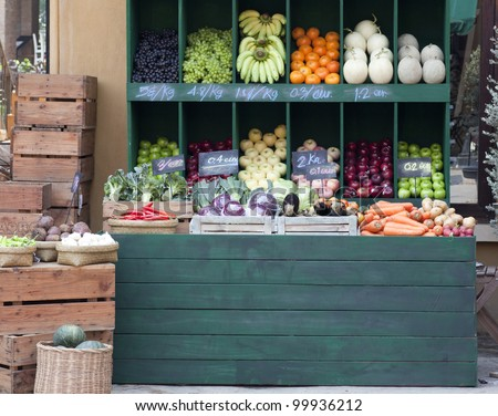 colorful vegetables on market stand - stock photo