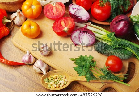 Colorful vegetables on the cutting board