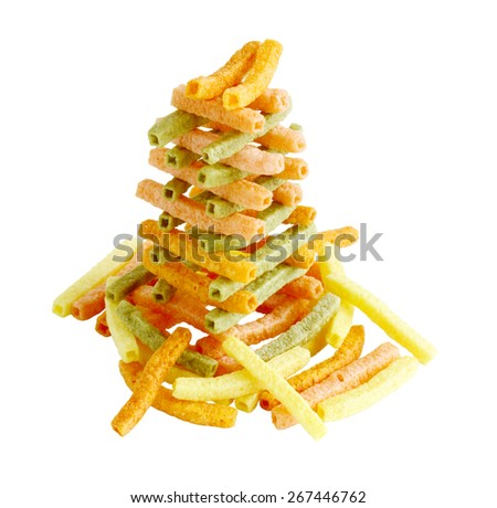 Colorful veggie straw tower isolated on white background - stock photo