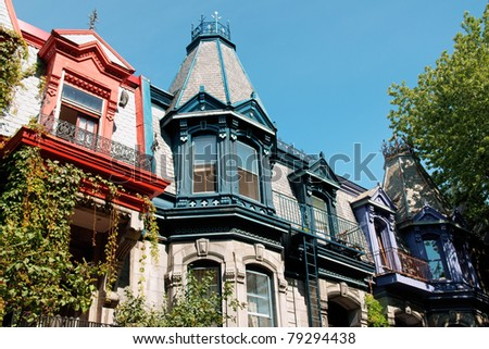 Colorful victorian houses in Montreal - stock photo