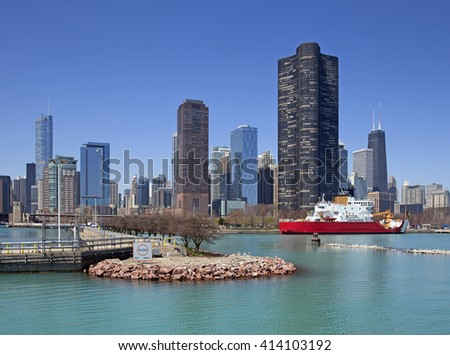 Colorful view of Chicago - stock photo