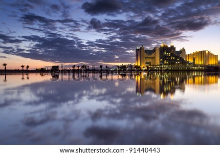 Colorful view on laguna in Eilat - popular resort city in Israel - stock photo