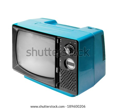 Colorful vintage analog television isolated over white background, clipping path. - stock photo