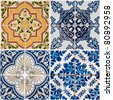 Colorful vintage ceramic tiles wall decoration background. - stock photo