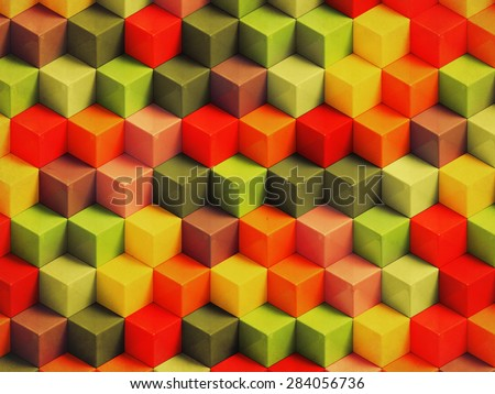 Colorful vintage geometric background - 3D cubes pattern - stock photo