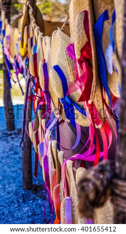 Colorful vintage hats in Colonial Williamsburg's market - stock photo