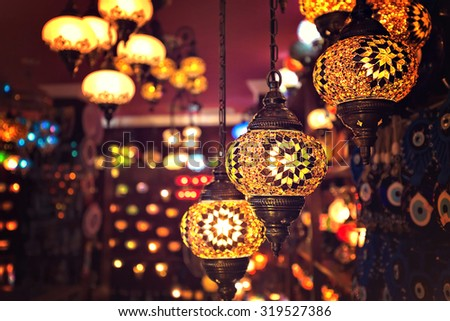 Colorful vintage lamp - stock photo