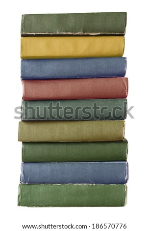 colorful vintage old books isolated on white - stock photo