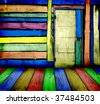 colorful vintage wooden room - stock photo