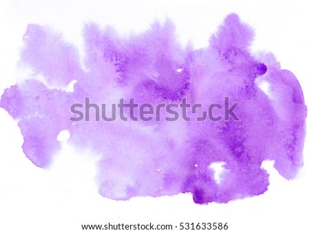 Colorful violet watercolor splash background. Design artistic element for banner, print, template, cover, decoration