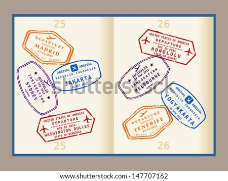 Colorful visa stamps (not real) on passport pages. International business travel concept. Frequent flyer visas. The stamps do not resemble real passport stamps. - stock photo