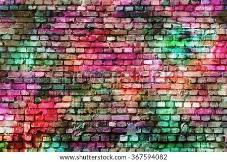 Colorful wall art, inspirational background image. - stock photo