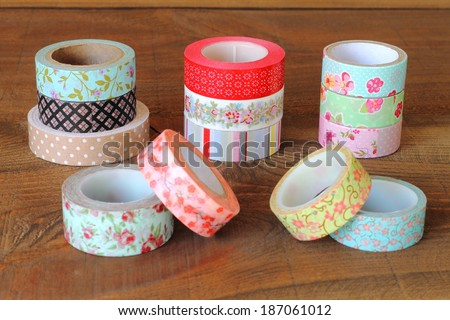 Colorful washi tapes - stock photo