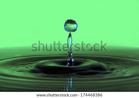 Colorful water drop and splash - stock photo