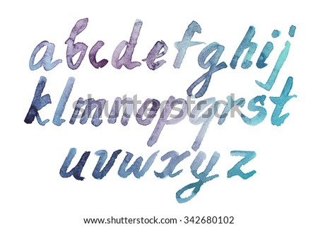 Colorful watercolor aquarelle font type handwritten hand drawn doodle abc alphabet  lowercase letters. - stock photo