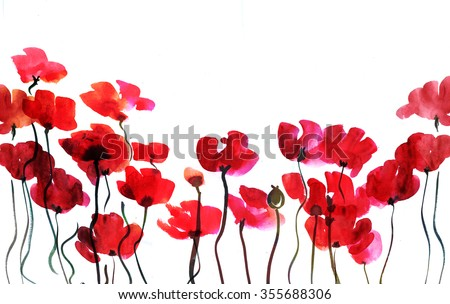 Colorful watercolor artistic background design poppy flower illustration with wet paint stains. Hand made illustration texture with flowers isolated on white. Art for print, card, wallpaper, book. - stock photo