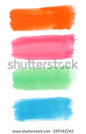 colorful watercolor banners, paper watercolor - stock photo