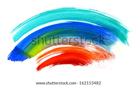 Colorful watercolor brush strokes isolated on white. Useful as design elements. - stock photo