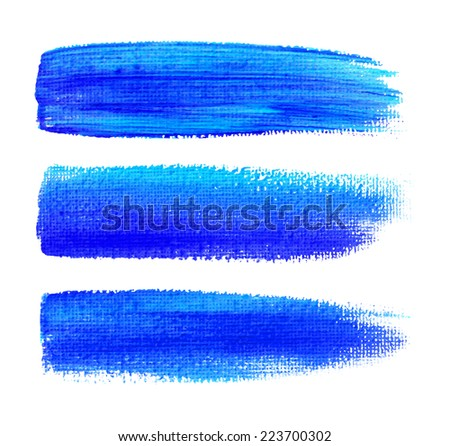 Colorful watercolor brush strokes on canvas, raster illustration  - stock photo