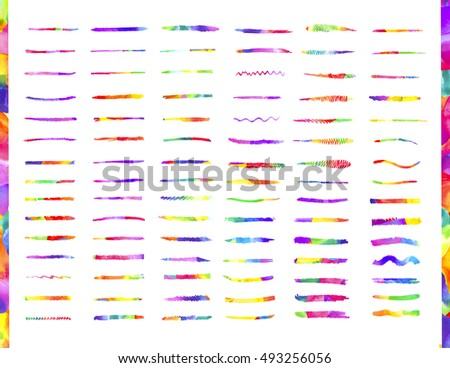 Colorful watercolor brush strokes. Watercolor brushes template