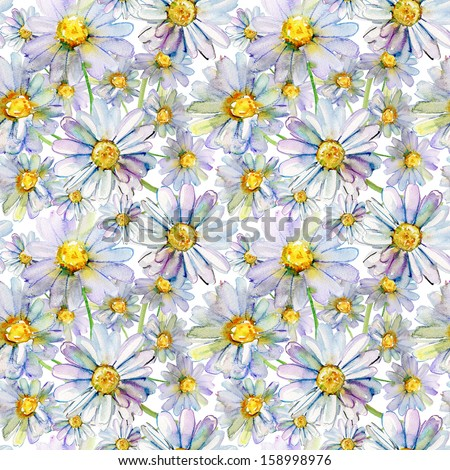 Colorful watercolor seamless pattern with daisy flower - stock photo