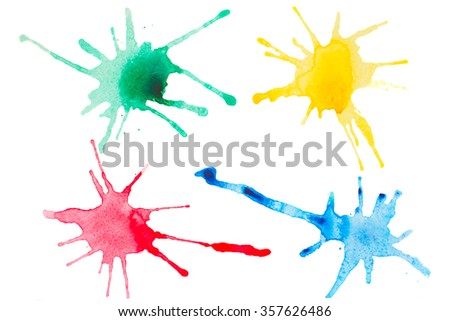 colorful watercolor set of blotches isolated on white background - stock photo