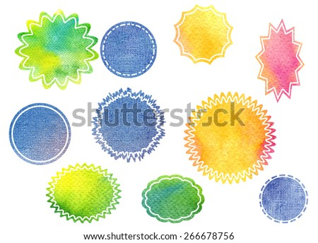 Colorful watercolor shapes on white background