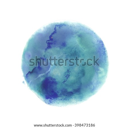 Colorful watercolor sphere. Grunge design elements. Blue wet hand painted round blotch circle. Abstract painting. Blue, cyan and azure paint. - stock photo