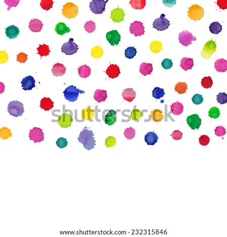 Colorful watercolor splashes isolated on white background - stock photo