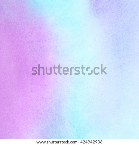 Colorful watercolor stains background. Light pastel colors. Mint green, pink, blue. Watercolour template for your design. Colourful neon texture. - stock photo