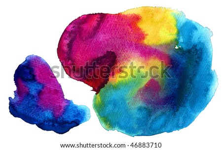 colorful watercolor stains (isolated) - stock photo