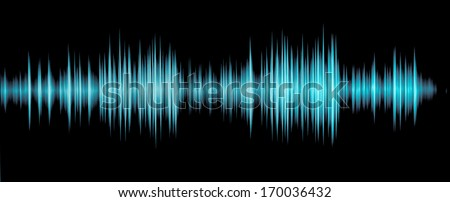 colorful waveform isolated on black, blue - stock photo