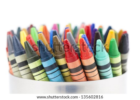 Colorful wax crayons isolated on white background - stock photo