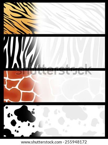 Colorful web banner/  header collection with different animal print backgrounds - stock photo