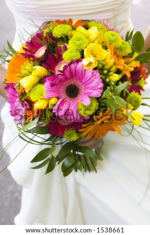 colorful wedding bouquet - stock photo