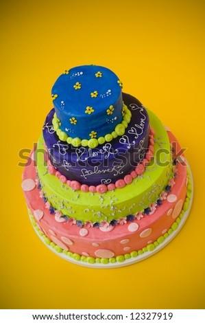 Colorful wedding cake - stock photo