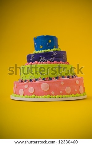Colorful wedding cake - stock photo