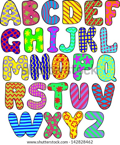 colorful whimsical hand-drawn alphabet - stock photo
