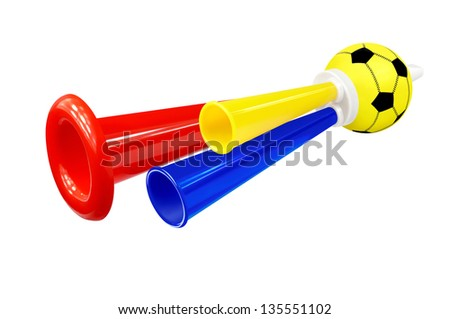 Colorful whistle soccer fan on white background - stock photo
