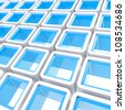 Colorful white and blue glossy cube cell composition as abstract background - stock photo