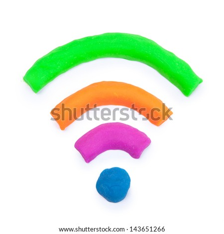 colorful wifi sign made from toy clay - stock photo