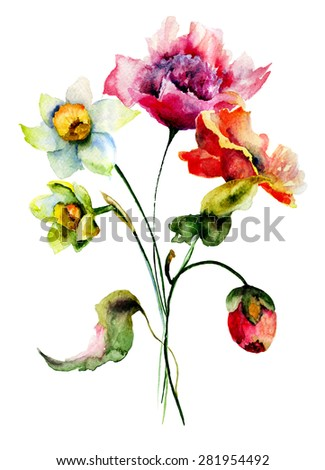Colorful wild flowers, watercolor illustration  - stock photo