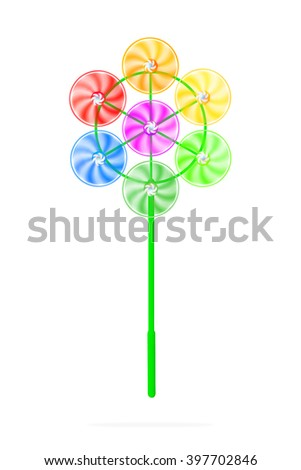 Colorful windmill. Kid toys. Windmill isolated. Colors pinwheels. Turbine isolated. Colorful toy. Childhood toy. Wheels toy. Summer toy. Funny toy. Spinner toy. Plastic toy. Colorful child toy. Colors - stock photo