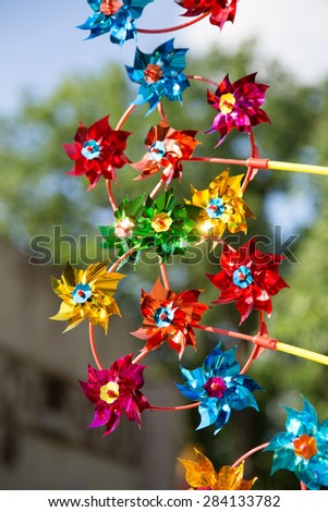 Colorful windmills - stock photo