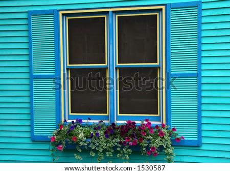Colorful window in Telluride Colorado - stock photo