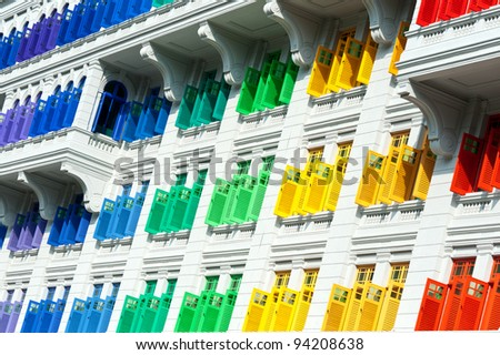 Colorful window shutters  at Clark Quay, Singapore - stock photo